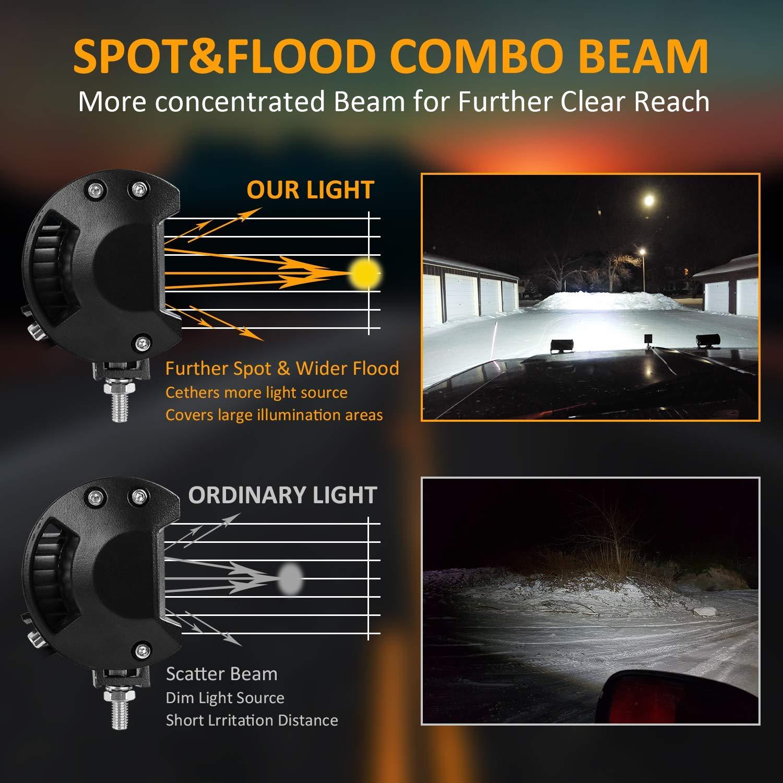 4 Pack 7 Inch LED Light Bar 120W LED Pods Off Road Driving Lights Led Work Lights Spot Flood Combo Beam Fog lights for Trucks Trailer Boat Pickup Car RV ATV Jeeps
