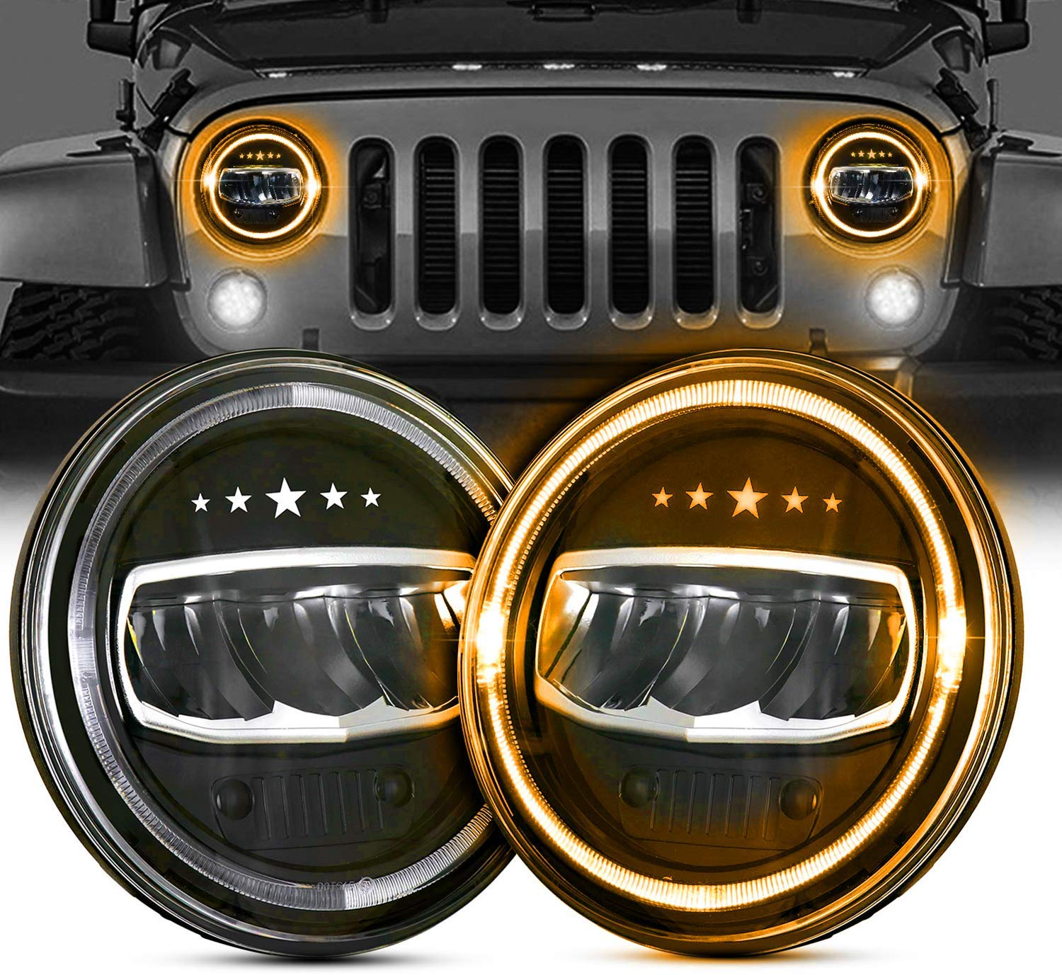 80W CREE LED Headlight with White Halo Fog Light Upgrade Combo For 07-18 Jeep JK