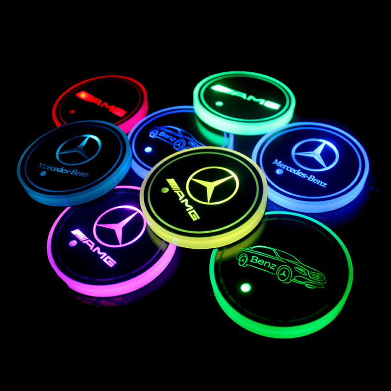 GUOLIANG Car Logo Atmosphere lights Luminous Coasters Car Cup Holder Lights 7 Colors Smart Luminous Water Coaster Changing USB Mat for Mercedes-Benz Cars