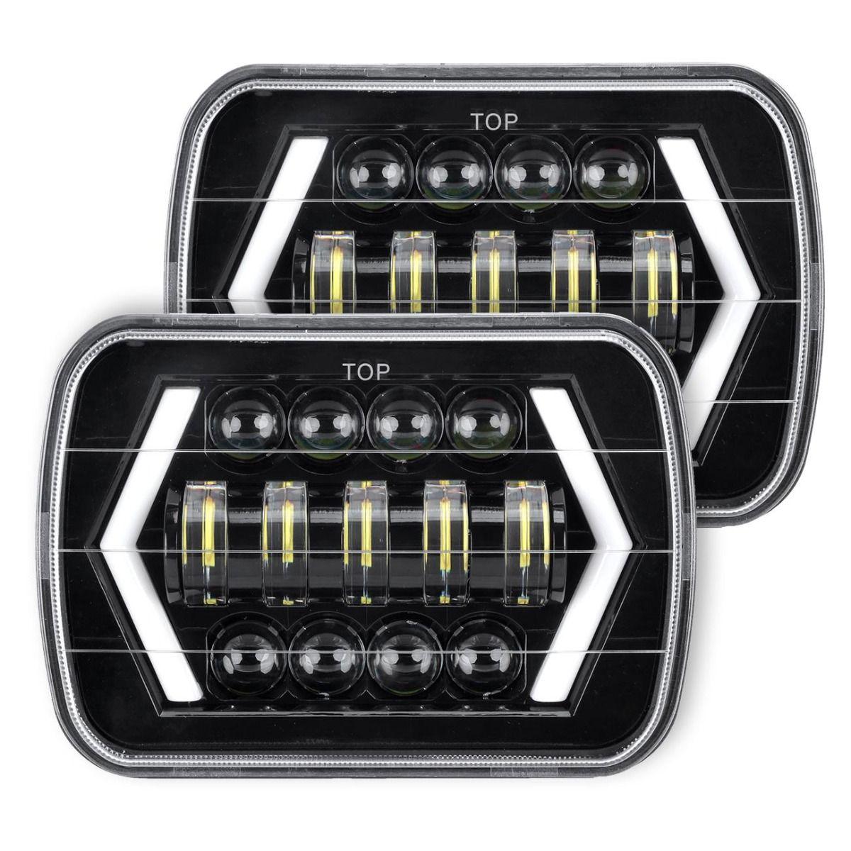 "2Pcs 4/""X6/"" Rectangle LED Headlights Sealed Hi-Lo Beam Halo DRL Turn Signal Light"
