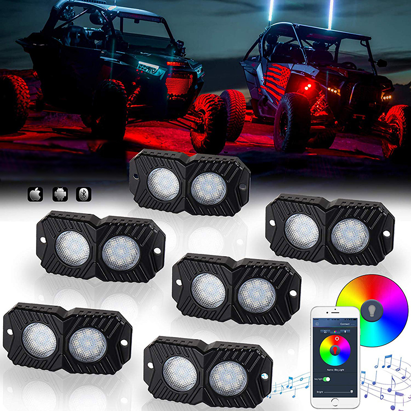 4 Pods GoodRun Rock Lights RGB LED underglow kit with Bluetooth Controller RGB remote controll /& Timing Function /& Music Mode for Underglow Off Road Truck SUV